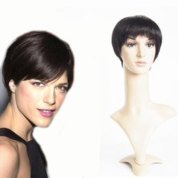 Wholesale Men Black Short Hair Wigs - Short Hair Cuts 2016 Short Human Hair Wigs For Men Women 6inch Black wig Straight Machine Made Lace Front Wig Hair