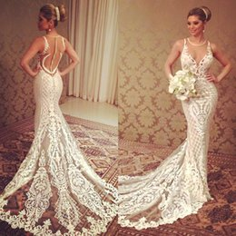Wholesale Neckline Beading - 2016 Berta Mermaid Wedding Dresses Lace Applique Sheer Jewel Neckline Beading Bridal Gowns Button Covered Court Train Cheap Wedding Dress