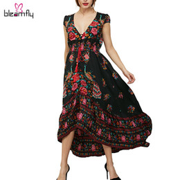 Wholesale Large Long Sexy Casual Dresses - 2017 New Spring Summer Bohemian Maxi Dress for women Long Beach Dresses Flower Printed Sexy V--neck Large Size boho vestidos