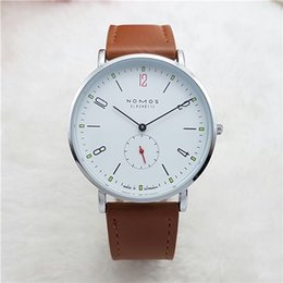 Wholesale Wholesale Watches Brands - 2017 New Brand NOMOS Quartz Watch lovers Watches Women Men Dress Watches Leather Dress Wristwatches Fashion Casual Watches