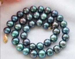 Wholesale Peacock Freshwater Pearl Necklace - New 9-10mm PEACOCK BLACK ROUND Freshwater cultured PEARL NECKLACE
