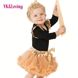 Wholesale Black Pettiskirt For Girls - Baby Girls Clothes Sets for Girl Infant Fluffy Coat Costume 0-2t Chiffon Pettiskirt Black Long Sleeve Cotton Baby Rompers 2017 New Style A