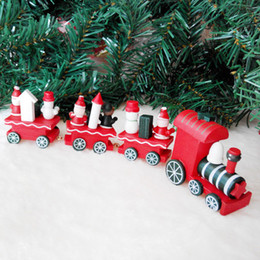 Wholesale Children Mini Train - Christmas Xmas Wood Train New Year Decoration Decor Mini Wooden Trains Christmas Ornament Artware Train for Children Kids Gift With Package