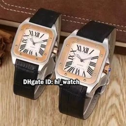 Wholesale Leather Womens Watches Brown - Super Clone Luxury Brand Cheap 39mm 33mm Santo 100 100 W20107 Two Tone Rose Pink Gold White Dial Roman Numerals Automatic Mens Womens Watch