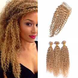 Wholesale Honey Strawberry Blonde - Color #27 Honey Blonde Kinky Curly Virgin Hair Bundles With Lace Closure Strawberry Blonde Free Part Top Closure With Curly Hair Weaves