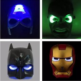 Wholesale Marvel Led Lights - LED Glowing with sound mask Spiderman Iron Man Hulk & Captain Americas Marvel Avengers Deadpool Masks with flashing light for childr