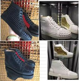 Wholesale Spiked Shoes Red Sole - 2017 new Red Sole Flat Men's Sneakers Red Bottom Shoes Men Spikes Shoes Double Color Rivets High top Quality Wholesale size:36-47