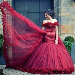 Wholesale Engagement Dresses Sleeves - Amazing Burgundy Off the Shoulder Sweetheart Flowers Short Sleeve Mermaid Evening Dresses for Engagement 2017 Charming Prom Party Gowns