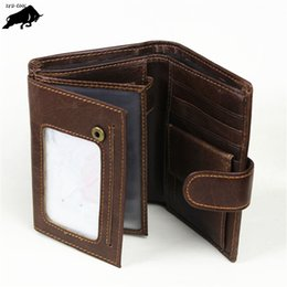 Wholesale Vertical Wallet Id - Retro Multi-card bit Oil wax Leather Men Wallet Cowhide Genuine Vertical section Purse Hasp Wallets Coin Pocket Card & ID Holder