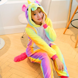 Wholesale Adult Rainbow Costume - Rainbow and star Unicorn Kigurumi Pajamas Animal Suits Cosplay Halloween Costume Adult Garment Cartoon Jumpsuits Unisex Animal Sleepwear