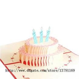 cartões de natal musicais Desconto Papercraft Pop-Up 3D Cartões de Aniversário Bolo De Aniversário Bênção Handmade Cartão De Papel Criativo Presente de Casamento de Aniversário de Natal