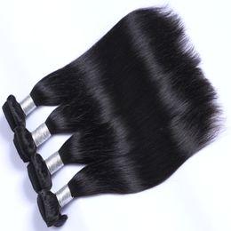 tessuto all'ingrosso dei capelli umani all'ingrosso Sconti All'ingrosso Più Economico Colore Naturale Remy Estensioni Dei Capelli Umani Capelli Lisci Tesse Brasiliano Malese Peruviano Indiano Capelli Vergini Umani Bundles