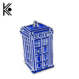 Wholesale Mysterious Box - Wholesale- free shipping Doctor Who Dr Mysterious series brooch badges Fashion Blue Tardis Box Enamel Tie Lapel Icons Brooch Pins Dress
