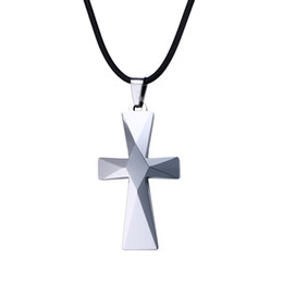 Wholesale Tungsten Carbide Pendants - 26.7x48mm Personalized Simple Cross Necklace in Tungsten Carbide Free Leather Cord