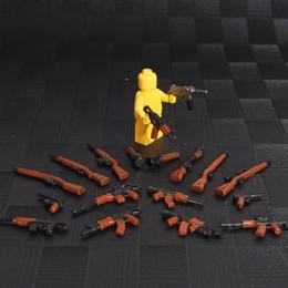 Wholesale Wholesale Plastic Military Figures - BLOCK 18PCS MOC Mini Weapon Pack Military Swat Police GUN Building Brick Arms Figure Blocks