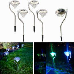 Wholesale Portable Stainless Steel - Solar outdoor RGB Diamond lights for garden lawn lights stainless steel waterproof LED solar christmas lights for yard decoration 4pcs lot
