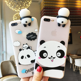 Wholesale panda phone case iphone - 3D Cute Panda Cases for iPhone x 6 6s 8 Plus 7 Case Clear Soft TPU Cartoon Phone Cover for iPhone 6