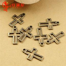 Wholesale Brass Cross Charms - 17*10MM Antique Bronze Retro cross charm pendant beads, DIY jewelry accessories wholesale brass charms, Indian copper charm bulk