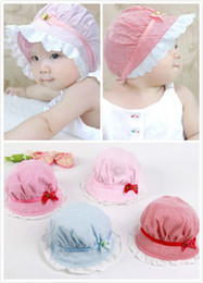 Wholesale Ruffled Brim - 2017 New Baby Newborn Lace Cotton Ruffles Caps Hats Infant Toddlers Flowers Belt Caps Hats Girls Princess Visor Sun Mide Brim Caps Hats Wear