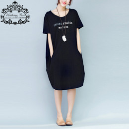 Wholesale Casual Grey Dress Shirt - Wholesale- Women Dress Big Size Cotton T-Shirt Letter Printing Summer Fashion Casual Female Tops Black Grey Lady Long Dresses With Pocket