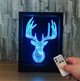 Wholesale Led Lighted Reindeer - Christmas Decoration Reindeer Photo Frame Night Light LED 7 Colors Change Bedside Acrylic Table Lamp Remote Control Light Gift For Childr