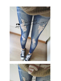 Wholesale Womens Tights Wholesalers - Leggings Slim Pants Tights For Women Sexy European and American Fashion Womens\' Leggings Seamless Imitation Jeans 0503-3