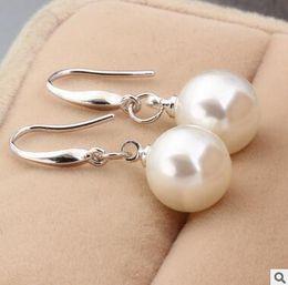Wholesale Nail Dangle Gold - Korean air quality 925 pure silver ear nail female pearl pure silver South Korea long earpiece