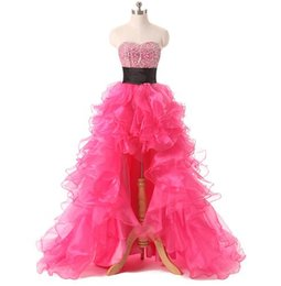 Wholesale Hand Bandages - Cheap Fuchsia Organza Long Homecoming Dresses 2016 New Arrivals High Low Sexy Graduation Gowns Luxury Crystals Prom Formal Dress Gonws