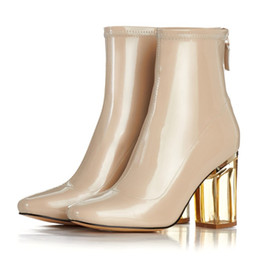 Wholesale Transparent Crystal Boots - Stylsowner Brand Nude Color Patent Leather Boots For Women High Heels Short Ankle Boots Transparent Crystal Heels Party Boots