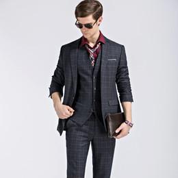 Wholesale Fits Commercial - Wholesale- 3 Piece suits set commercial male fashion plaid casual suit wedding dress Groom Tuxedos Men's Slim Fit Two Button Groomsmen Suit