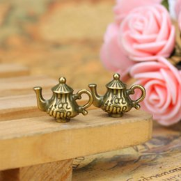 Wholesale Wholesale Teapots Accessories - 15*12mm Vintage Ancient Bronze Tone Teapot Charm Pendants For DIY Jewelry Making Findings Handmade Crafts Accessories