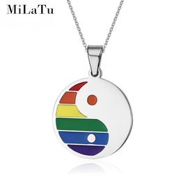 Wholesale Gifts For Gay Men - Wholesale-MiLaTu Ethnic Necklace Pendant For Women Men Stainless Steel Rainbow ID Bagua Necklace Free Chain Gay Pride Bijoux NE005G