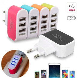Wholesale Universal Direct - US EU Plug 3 USB LED Wall Chargers 5V 3.1A Adapter Travel Convenient Power Adaptor with triple USB Ports For Mobile Phone