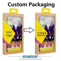 Wholesale Stickers Iphone Fashion - Fashion Style High Class Kraft Paper Box Customize Company LOGO Packaging Box with Colorful Sticker & Hanger for iphone 7 7plus Case