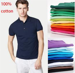 Wholesale Golf T Shirt Xl - 100% cotton 2017 summer men's short sleeve POLOS shirt men sports casual t shirt golf shirts US SIZE XS-4XL