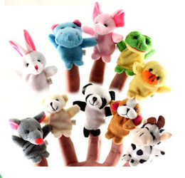 Wholesale Hand Puppets Toys - 600pcs lot DHL EMS finger doll animal Puppets Kids Baby Cute Play Story time Velvet Plush Toys WD053