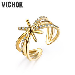 Wholesale 925 Line Rings - 925 Sterling Silver Ring Multi-line Cross Ring Gold Color Adjustable Size Wedding Ring For Women Girl Party VICHOK