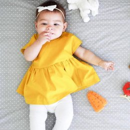 Wholesale Wholesale Kids Clothing Europe - Baby Clothes Europe Kids Fashion Backless Princess Dress Cute Infants Girl Yellow Summer Dresses 4 pcs Lot