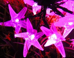 Wholesale Starfish Christmas Lights - 6m 20LEDS Waterproof Outdoor Garden Patio Tree Starfish LED String Light Solar LED Strip Solar LED Christmas light