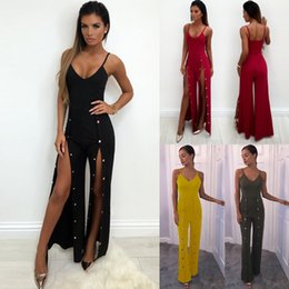e16753fa35 2018 Rompers Jumpsuit Women Long Pant Rivet Split Sexy Playsuit Summer Bodycon  Skinny Night Out Party Long Pants Rompers Night Out Wear