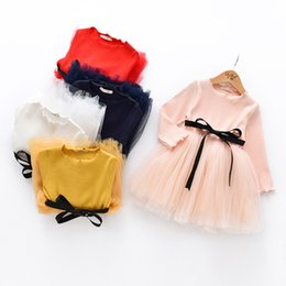 Wholesale Dress Style Lace Knitting - Everweekend Girls Knitted Tulle Party Dress wth Bow Spring Fall Ruffles Candy Color Princess Holiday Party Dresses