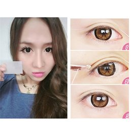 Wholesale Eyelid Strips - Wholesale- 12pairs Mesh Lace Invisible Double Eyelid Past Tape Eye Lift Strips Trial Stiker Eye Lid Cosmetic Makeup Beauty Eyelid Past Tool