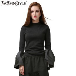 Wholesale Turtleneck Tops For Women - Wholesale- TWOTWINSTYLE Black Turtleneck Pullover Sweater for Women's Knitted Tops Flare Long Sleeve Knitting Clothes Korean Fashion Autumn