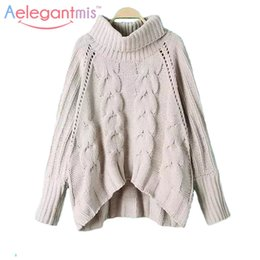 Wholesale Knit Cable Sweater - Wholesale- 2016 New Winter Fashion Cable-Knit Turtleneck Loose Women Warm Oversize Knitted Pullover Sweater