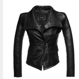 Wholesale Womens Black Sheepskin Coat - Genuine Leather Jacket Women Sheepskin Zipper Jaqueta De Couro Womens Coats And Jackets Winter 2016 Black Leather Jacket