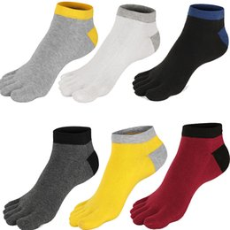 Wholesale Casual Clothes For Cheap - Cheap top quality Color Patchwork Men soccer Socks  Breathable Casual Cotton Five toe Socks For Men Sport Five Finger Socks Men Clothing