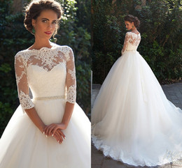 Wholesale Half Pearl Buttons - Vintage Lace Millanova 2018 Wedding Dresses Bateau Sheer Neck Half Long Sleeves Appliques Pearls Sash A Line Plus Size Bridal Gowns Cheap