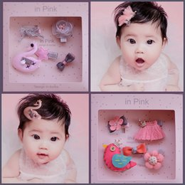 Wholesale Kids Wool Lace - 8 styles Kid hair accessories Sets Sequin Crown Bunny Ear Bow Flower boutique Hair bows Toddler barrettes Girls Hair Pin Set cute hairs Clip