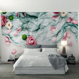 Wholesale 3d Roses Fabric - 3d Nordic Modern Style Non-woven Fabric Rose Petals Background Wall for Living Roon Bedroom Wedding House Decor Custom Any Size