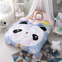 Wholesale Twin Cotton Quilts - 100% Cotton Cute Animal Monkey Panda Bedding Sets Comforters Pillow Sham Bed Sheets Quilts Cover Children Teen Christmas Gift Floral Striped